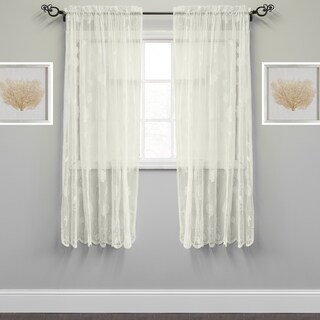 Marine Life Motif Knitted Lace Window Curtain Panel (2 options available)