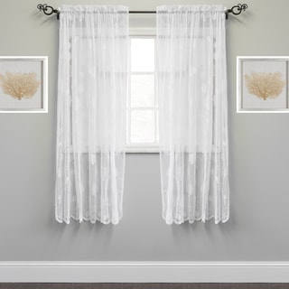 Marine Life Motif Knitted Lace Window Curtain Panel