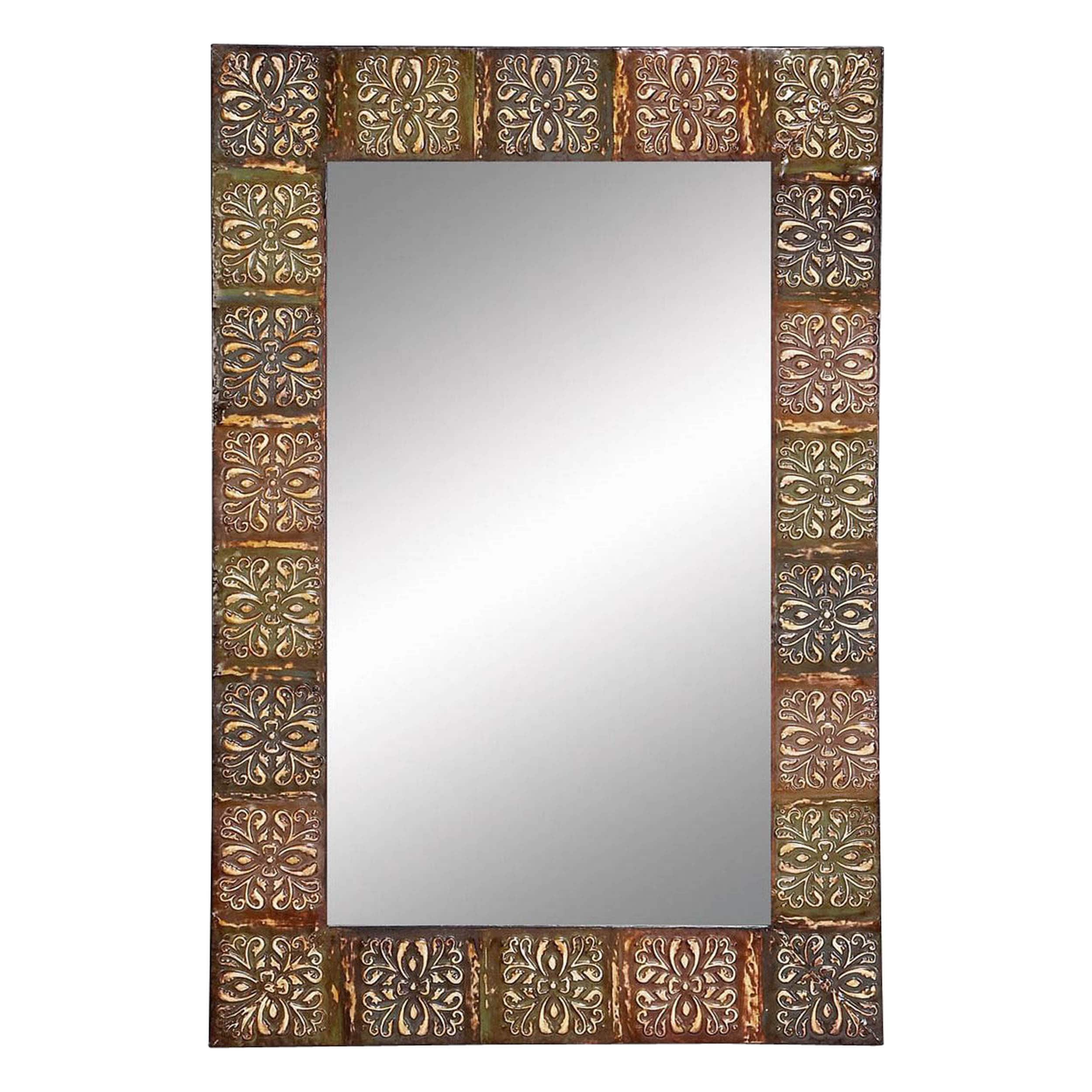 Shop 36-inch Embossed Metal Frame Wall Mirror - Free Shipping On ...