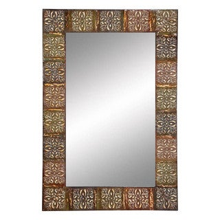 36-inch Embossed Metal Frame Wall Mirror
