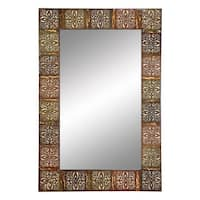 The Curated Nomad Lotta Embossed Metal Frame Wall Mirror