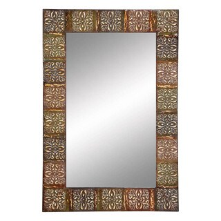 36-inch Embossed Metal Frame Wall Mirror
