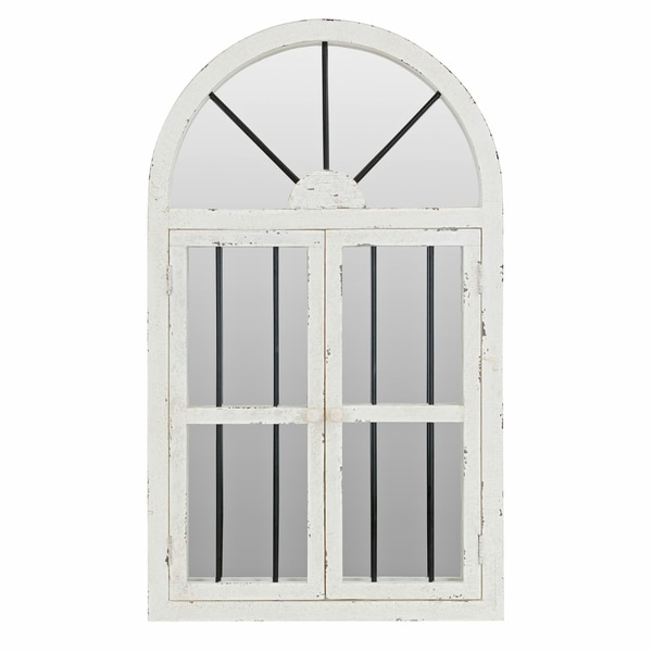 1b0785523e23d Shop 42-inch Arched Window Wall Mirror - White - N A - On Sale ...