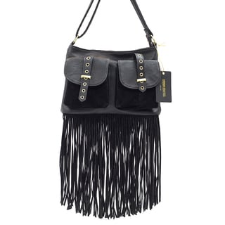 Like Dreams Kristina Vegan Leather Fringe Crossbody Handbag