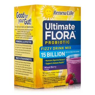 Renew Life Ultimate Flora Fizzy Drink Mix 15 Billion Mixed Berry (10 Packets)