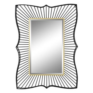 Loren Black and Gold Iron Framed Beveled Wall Mirror