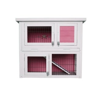 "Lovupet 32"" Wooden Rabbit Hutch Small Animal House Pet Cage Coop Pink"