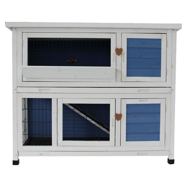 Lovupet Blue/Ivory Wooden 40-inch Rabbit Hutch/Small Animal House/Pet Cage/Coop