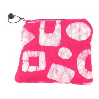 Hand Batiked Pink Coin Purse - World Peaces (Ghana)