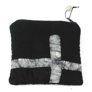 Hand Batiked Black Coin Purse - World Peaces (Ghana)