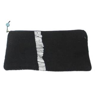 Handmade Hand Batiked Black Clutch Purse - World Peaces (Ghana)