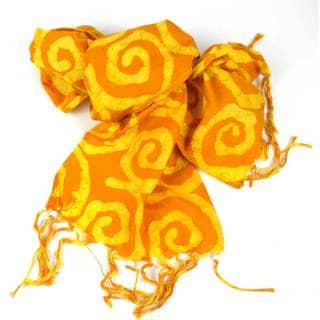 Hand Batiked Yellow Fringed Scarf - World Peaces (Ghana)
