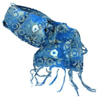 Hand Batiked Blue Fringed Scarf - World Peaces (Ghana)