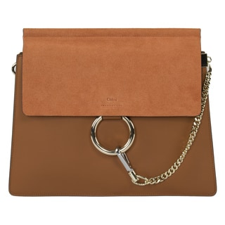 Chloe Faye Shoulder Bag Tobacco Smooth/Suede Calfskin with Pale Gold Hardware Medium Handbag