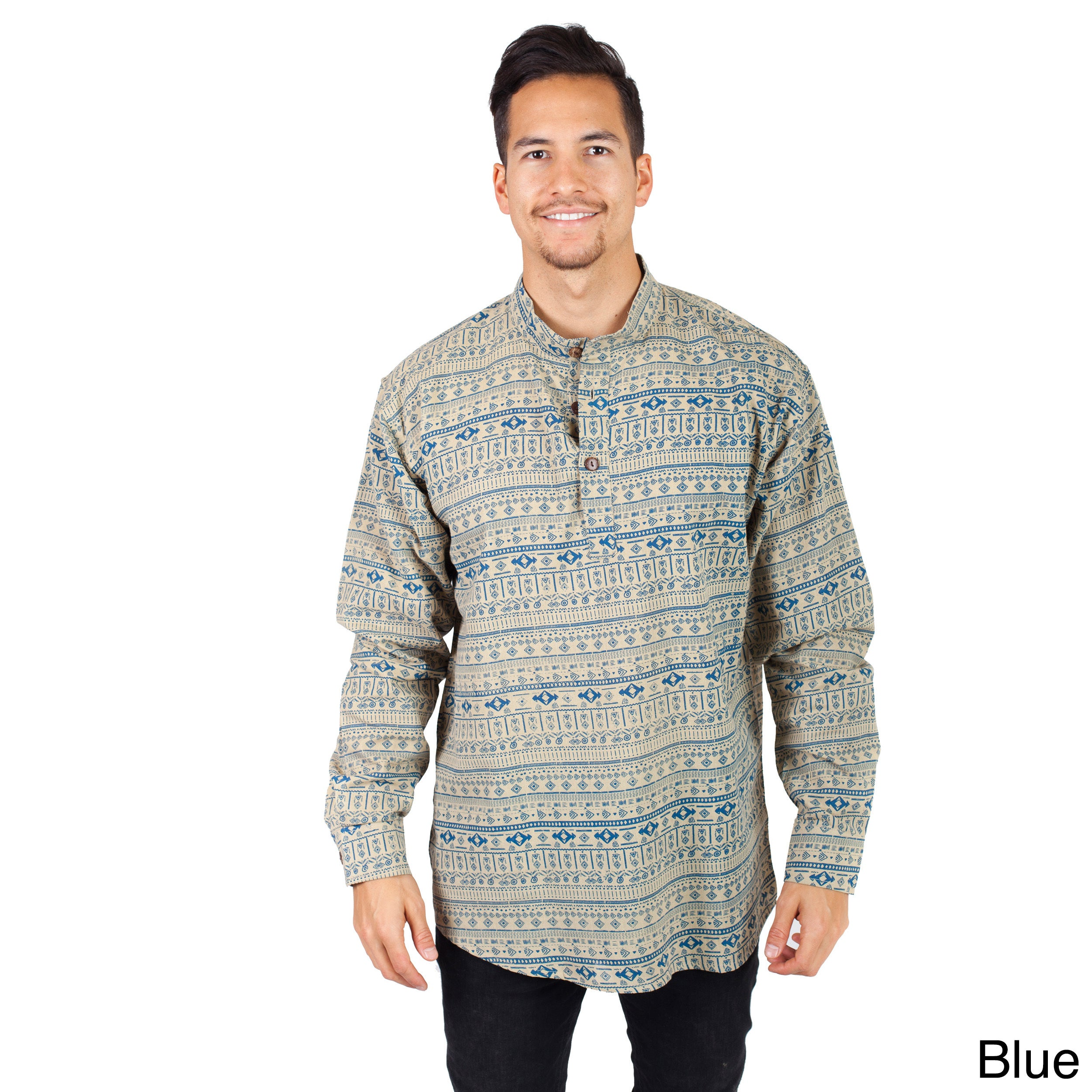 Handmade Men's Aztec Print Long Sleeve Kurta Shirt (Nepal...