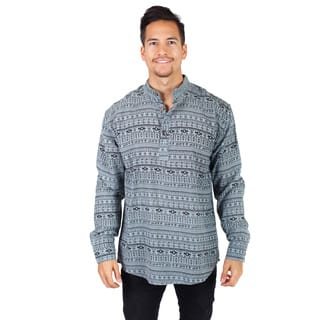Handmade Men's Aztec Print Long Sleeve Kurta Shirt (Nepal)|https://ak1.ostkcdn.com/images/products/14370255/P20944354.jpg?impolicy=medium