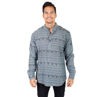 Handmade Men's Aztec Print Long Sleeve Kurta Shirt (Nepal)
