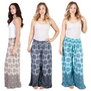 Handmade Women's Infinity Knot Print Palazzo Pants (Indonesia) (Option: Purple)