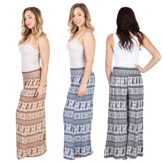 Handmade Women's Feather 'Om' Print Everyday Palazzo Pants (Indonesia)