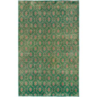 Vintage Turkish Green Overdyed Oriental Wool Rug (5'4 x 8'3) (Turkey)