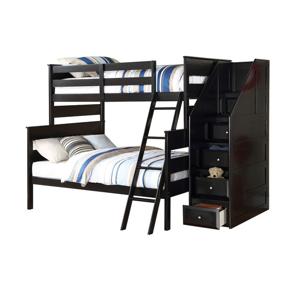 shop acme furniture alvis twin over full bunk bed with storage ladder black free shipping. Black Bedroom Furniture Sets. Home Design Ideas