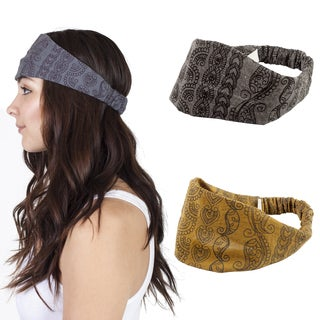 Handmade Women's Paisely Boho Cotton Active Headband (Nepal) (Option: Black)