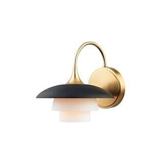 Hudson Valley Barron 1-light Aged Brass, Black Wall Sconce