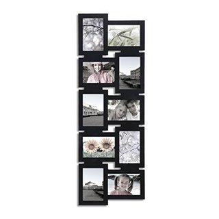 Adeco Black Wood 10-opening Decorative Interlocking Wall-hanging Collage Photo Frame