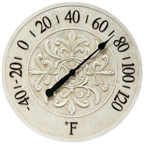 Blanc Fleur White Outdoor Decorative Round 15 inch Wall Thermometer by Infinity Instruments