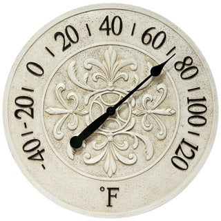 Infinity Instruments Blanc Fleur 15-inch Round Wall Thermometer