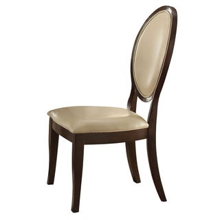 Acme Furniture Balint Cherry Wood Side Chair with Cream PU Seat (Set of 2)