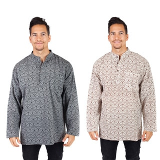 Men's Cotton Long Sleeve Banded Collar Tribal Kurta Shirts