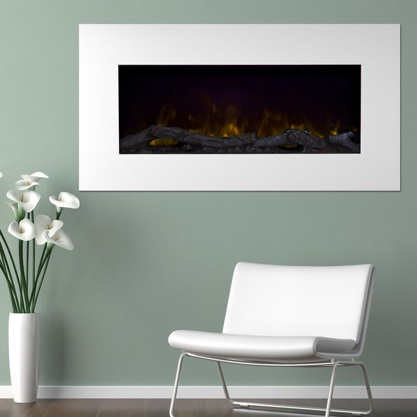 Northwest 36'' Color Changing LED Electric Fireplace with Remote-White - N/A
