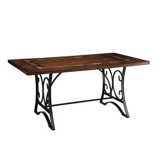 acme furniture hakesa cherry antique black wood and metal dining table