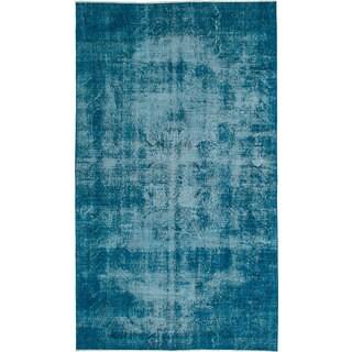 Vintage Turkish Blue Overdyed Oriental Wool Rug (5'1 x 8'10) (Turkey)