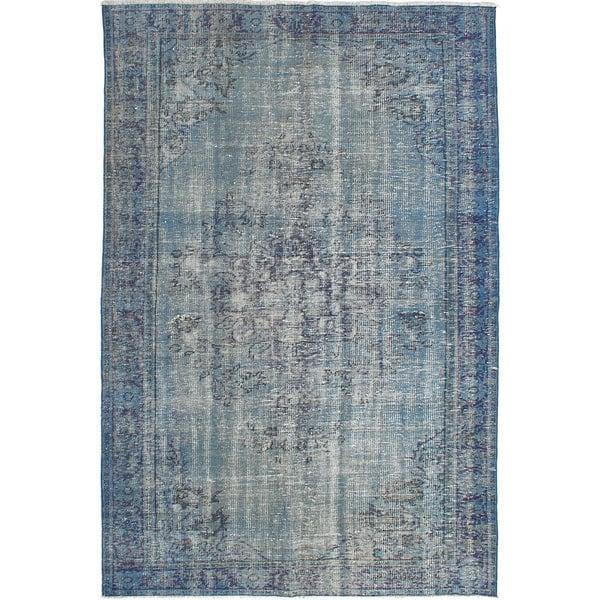 Blue Overdyed Oriental Wool Rug
