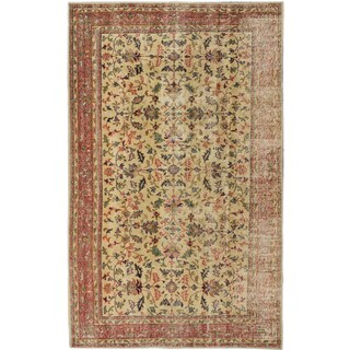 Vintage Turkish Beige Oriental Wool Rug (5' x 8'3) (Turkey)