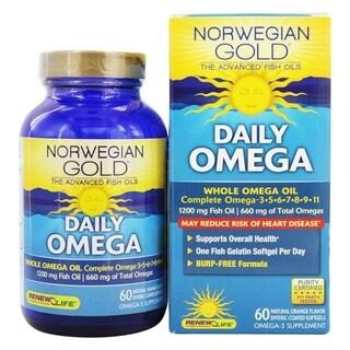 Renew Life Norwegian Gold Ultimate Fish Oil Daily Omega 1200 mg (60 Softgels)