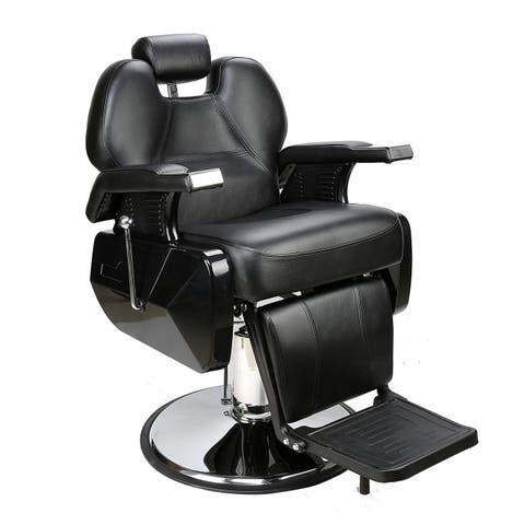 BarberPub Deluxe Hydraulic Recline Black Barber and Salon Chair