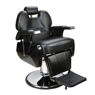 BarberPub Deluxe Hydraulic Recline Black Barber and Salon Chair