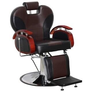 BarberPub Black/Brown Leather Hydraulic Reclining Hair Salon Chair