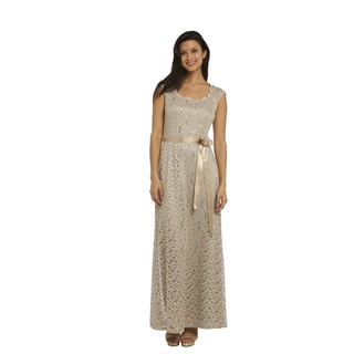 R&M Richards Champagne Lace Gown