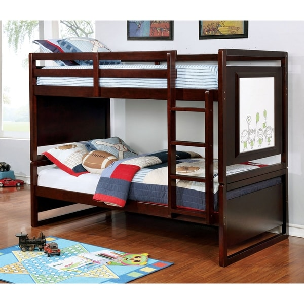 Furniture of America Mill Transitional Twin/Twin Solid Wood Bunk Bed