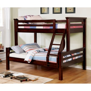 Furniture of America Pen Rustic Walnut Solid Wood Bunk Bed