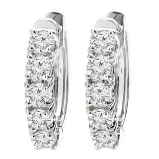 10K Gold 1ct TDW Round Diamond Hoop Earrings (H-I, I1-I2)