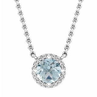 Elora 14k Gold 7/8ct TGW Aquamarine and White Diamond Accent Pendant (I-J, I2-I3)
