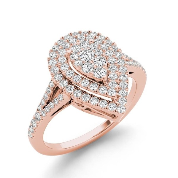 De Couer 14k Rose Gold 1/2ct TDW Diamond Cluster Pear-Shaped Engagement Ring - Pink