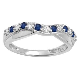 Elora 14k Gold 1/2ct TGW Round-cut Blue Sapphire and White Diamond Accent Wedding Contour Band (H-I, I1-I2)