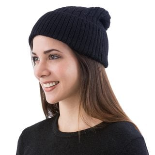 Handcrafted Alpaca 'Black Braid Cascade' Hat (Peru)