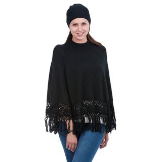 Handcrafted Alpaca Blend 'Black Coffee' Poncho and Hat (Peru)